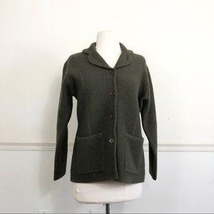 Vintage 100% Wool cardigan sweater jacket Green